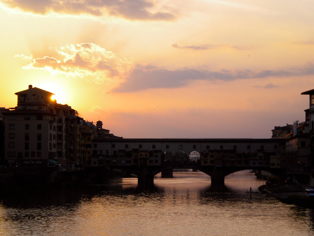 Sunset Over The Ponte Vecchio In Florence