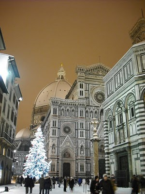 Duomo In Florence Covered In Snow