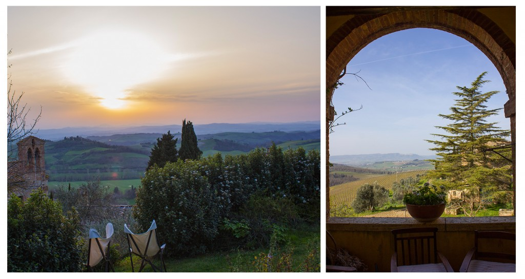 sunset and view of val di chiana tuscany from borgo lucignanello